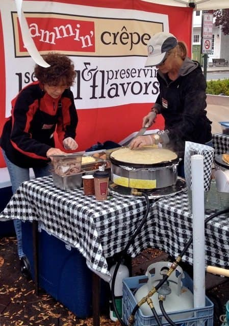 Kim Rizk of Jammin Crepes serves up breakfast for hungry spectators.