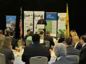 Mercer County Executive Brian Hughes addresses business leaders at the Hyatt Regency.