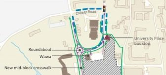 A portion of the new map for Alexander St./University Place. Visit princeton.edu/artsandtransit/ for more details.