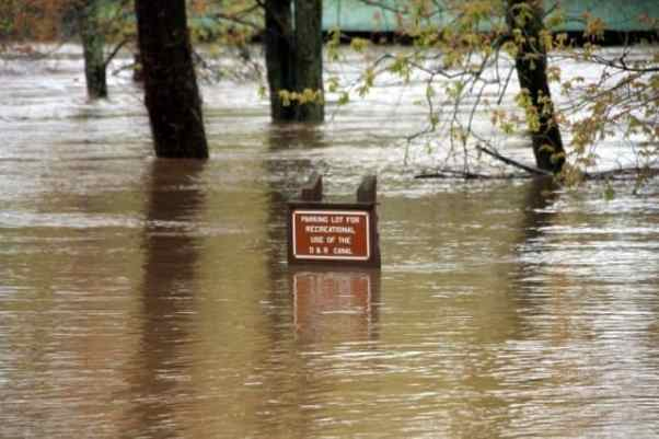 Millstone River at D&R State Park in Kingston. The parking lots turned into part of the river. Photo: Shani Abel.