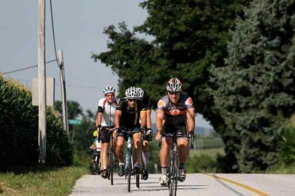 Cyclists reach the top of a climb on day 5 of the Anchor House Ride for Runaways.