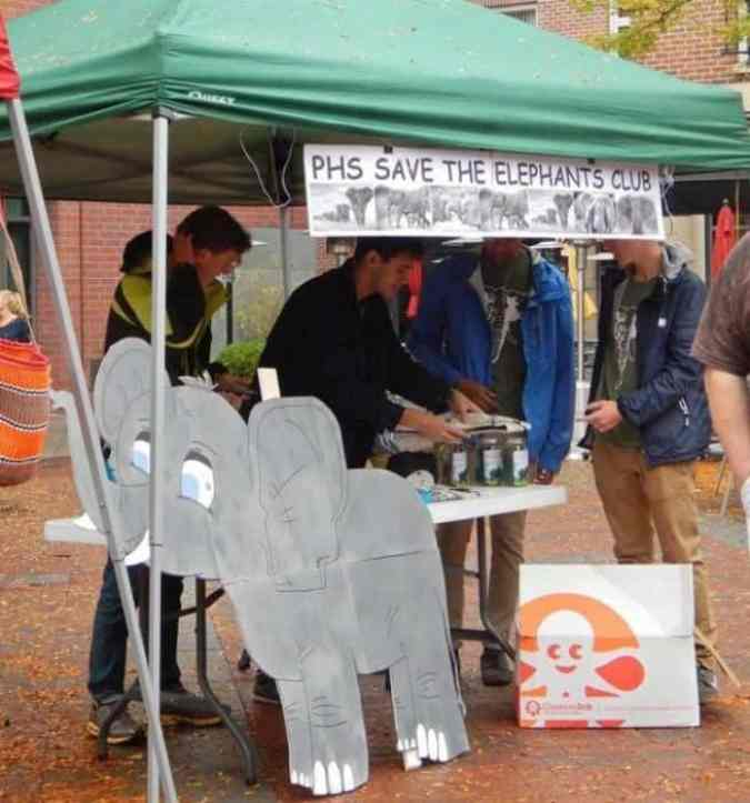 Ben Segal of the PHS Protect The Tusk selling t-shirts at the Global March for Elephants and Rhinos Princeton Rally on October 4. PHS Protect The Tusk raised $838 during the rally that will be donated to the David Sheldrick Wildlife Trust in Kenya. Photo credit: Beth Dietz