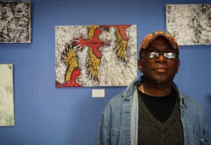 Painter Anthony Fearron at his Trenton studio space. Photo: Jeff Stewart.