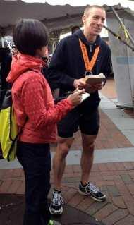 Top finisher Laurent White of Flemington after the Princeton Half Marathon awards ceremony.