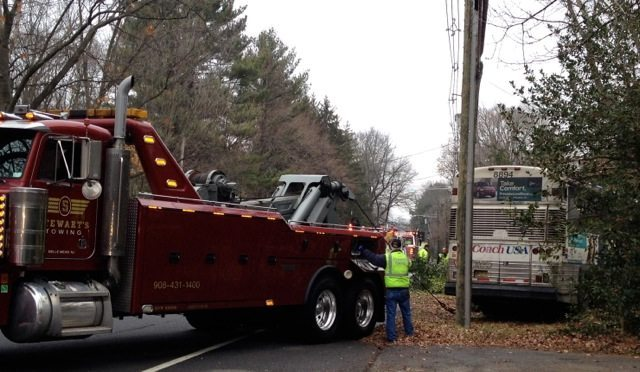 bus crash Princeton tow truck
