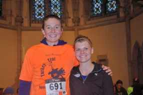 Meghan Bruce (r) of Princeton took first place in the women's division at the 7th annual Turkey Trot in Princeton.