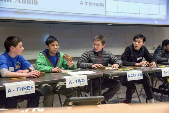The John Witherspoon team in competition in the final rounds of the U.S. Department of Energy's New Jersey Regional Middle School Science Bowl at the Princeton Physics Laboratory. (l-r) David DiMella, Aaron Wu, Team Captain Lukas Eriksson, and Jeffrey Cheng. Photo: Elle Starkman, PPPL Office of Communications.