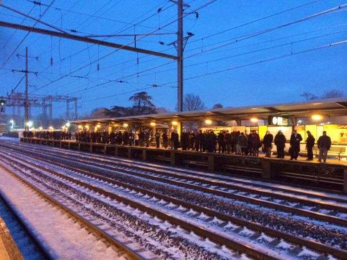 Icy Morning - Commuters wait for the train at Princeton Junction on an icy Monday morning. Photo taken March 2 by Alexander Heilner.