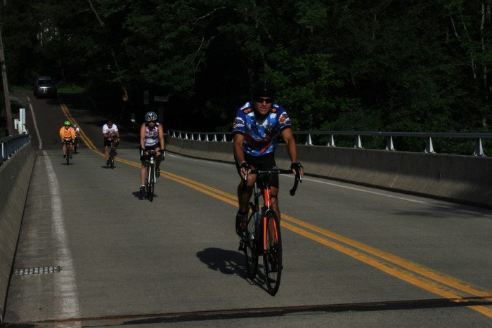 The Anchor House cyclists biked 76 miles on Friday. Photo: Jeanne Imbrigiotta.