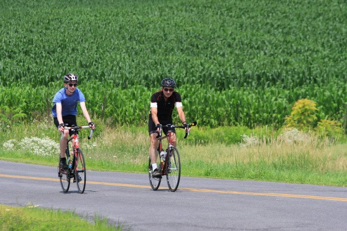 Connor Smith 9l) and Mark Smith (r) on day one of the Ride for Runaways.