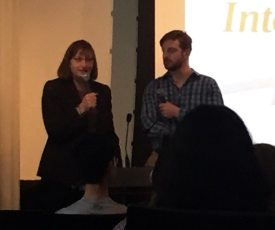 Jane and James Clementi address Princeton area high school students on Wednesday.