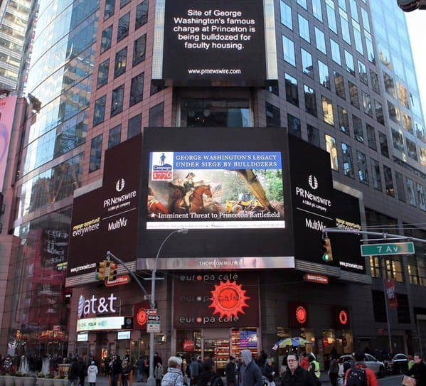 A billboard in Times Square promoting the Civil War Trust's campaign to save land that was part of the Battle of Princeton.