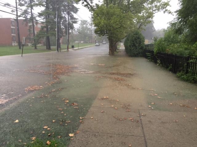Water makes its way inside Princeton High School Saturday. Photo: Steve Hiltner.
