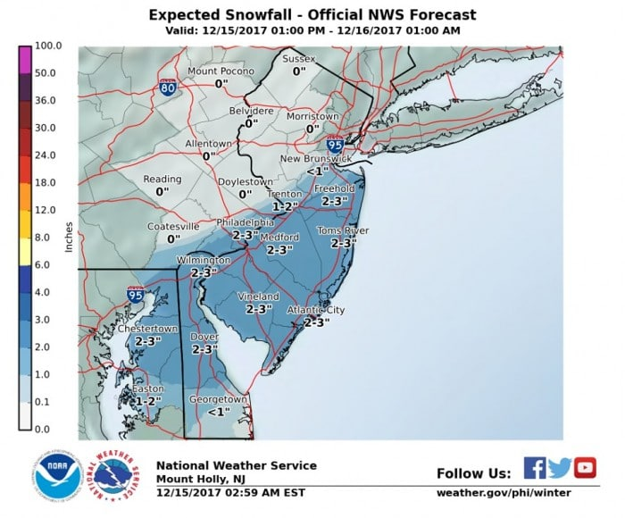 One to three inches of snow expected for the Princeton area