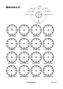 Learn the clock – o'clock, half and quarter