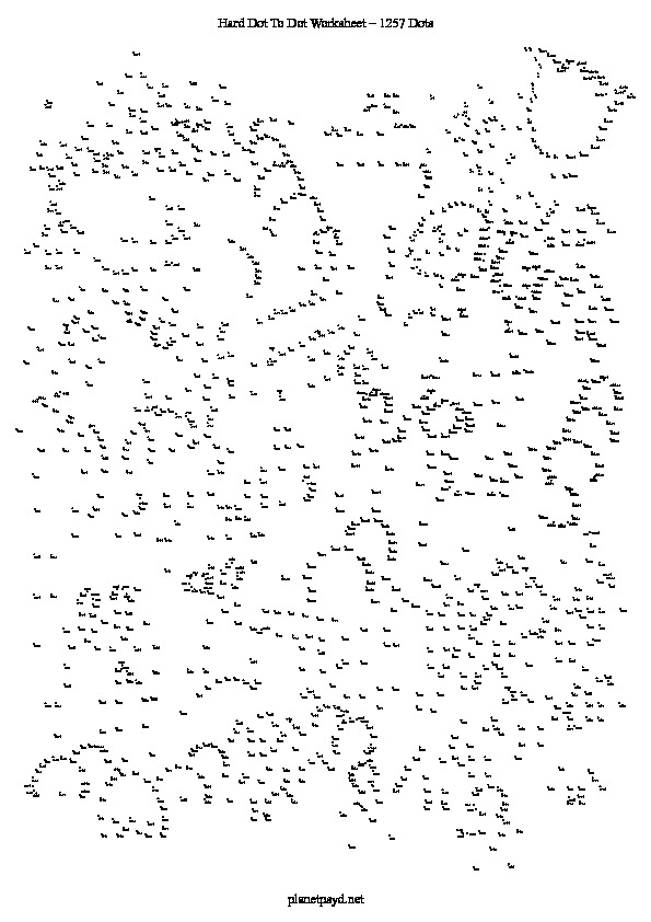 Hard dot to dots worksheet with 1257points