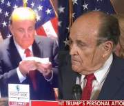 Oh Hell Naw: Rudy Giuliani Caught Wiping Snot On His Face & Suffering A Hair Dye Malfunction During News Conference!