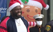 Rapper 50 Cent Makes Surprise Visit during Super Feast Toy Drive in Houston