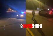 Caught On Worldstar Cam: Cop Tried To Catch Illegal Street Racers But Buddy Stood In The Middle Of The Road!