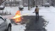 Here's One Way To Do Some Quick Snow Removal: Guy Uses A Flamethrower To Remove Snow From His Driveway!