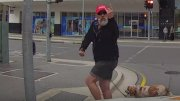 Instant Karma: Pedestrian Crossing Gets Angry & It Cost Him An L!