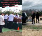 The Devil Couldn't Wait: Casket Smashes Into The Ground After Suffering Equipment Failure While It Was Lowering Into The Grave!