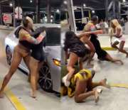 Girls Night Out Gone Wrong: Group Of Chicks Get Into An All Out Brawl At A Parking Garage!