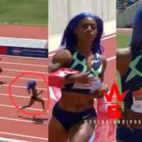 21yr Old From Texas Is A Problem: Sha'Carri Richardson Ran A 10.7 In The 100m.... Ripped The Finish Line Tape At USATF Golden Games!