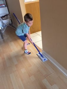 Chores for toddlers swiffering house