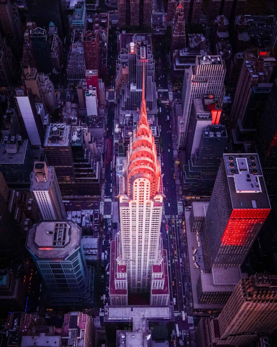 Chrysler Building Aerial Sunset