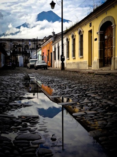 Travel Photo: Guatemala - Volcano Water Reflections in Antigua