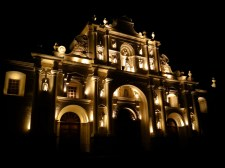 Travel Photo: Guatemala - Cathedral at Night in Antigua