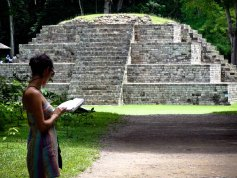 Travel Photo: Honduras - Jess in Front of Mayan Ruins of Copan Ruinas