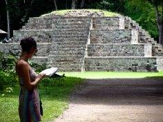 Travel Photo: Honduras - Jess in Front of Mayan Ruins of Copan Ruinas