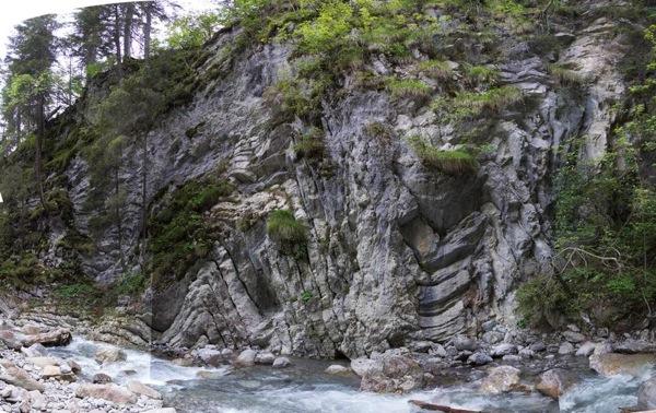 Outcrop at the Gorge of the Bernhardsbach, Ebigenalb, Lechtal, Austria