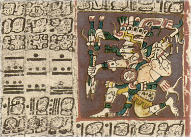Sample of page 2 of what's called the Dresden Codex -- considered the most complete of the three undisputably authentic Mayan codices. The names of the codices indicate where they were kept originally. It is the oldest book written in the Americas known to historians, created by scribes who were copying much older documents. It's believed to have been a gift of Cortez to King Charles I of Spain in 1519. It contains a lot of information about rainy seasons, floods, illness and medicine, as well as planetary tables -- but nothing about the 'end of the world'.