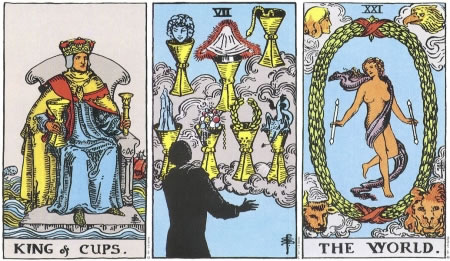 King of Cups, Seven of Cups, The World -- RWS Tarot deck.
