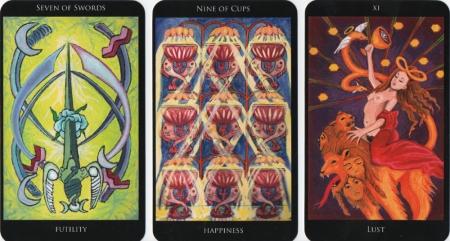 Seven of Swords, Nine of Cups, Lust -- Rosetta Tarot deck.
