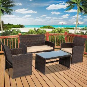 4-piece Outdoor Rattan Wicker Patio Lounge Set