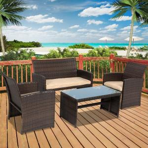 4-piece Outdoor Rattan Wicker Patio Lounge Set