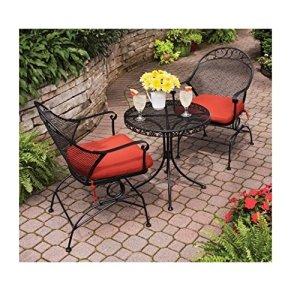 Clayton Court 3 Piece Motion Red Seat Outdoor Bistro Set