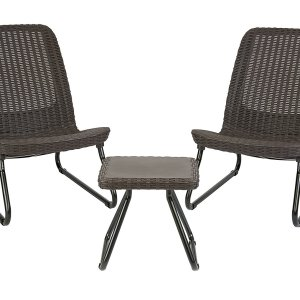 Keter Rio Brown 3 Pc All Weather Outdoor Patio Conversation Furniture