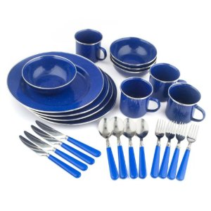 Stansport Enamel 24 Piece Camping Tableware Set
