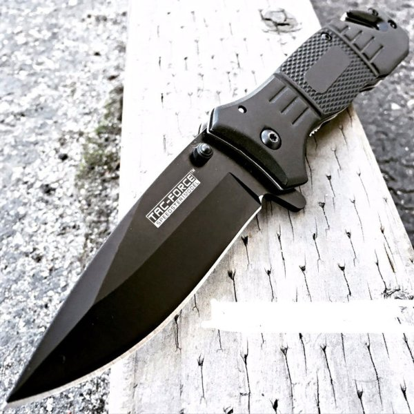 Tac-Force Spring Assisted Black Rescue Knife