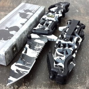 U.S. ARMY Assisted Opening Snow Camo Tanto Knife
