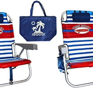 2 Tommy Bahama Backpack Beach Chairs with Medium Tote Bag