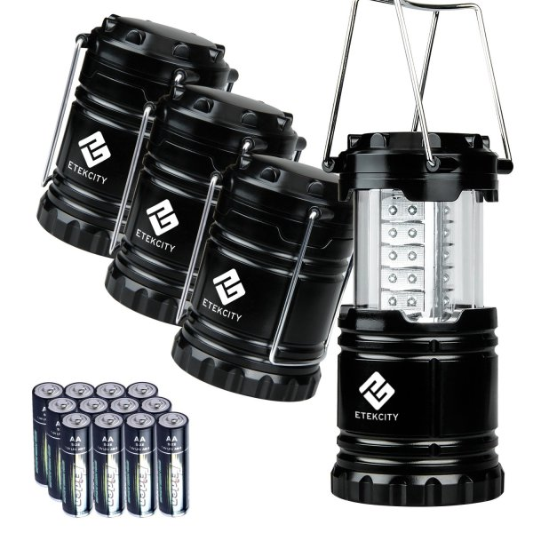 Etekcity 4 Pack Collapsible LED Camping Lantern with 12 AA Batteries