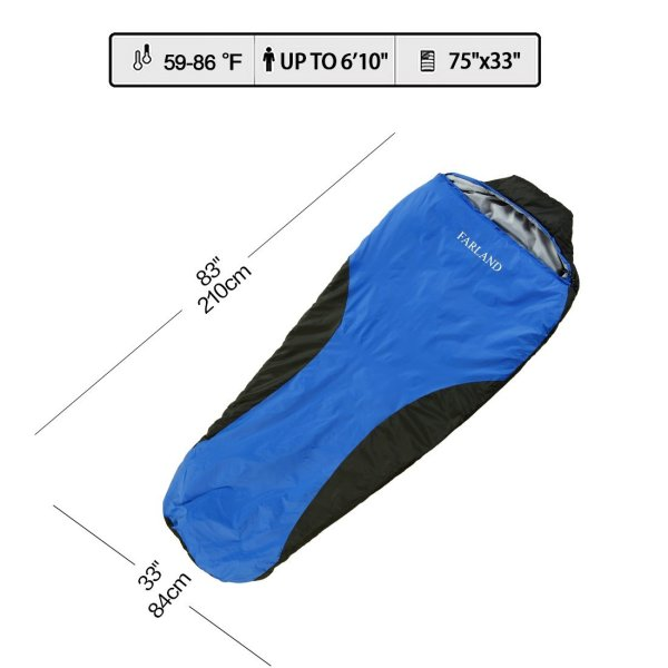 FARLAND Lightweight Waterproof Mummy Bag With Compression Sack