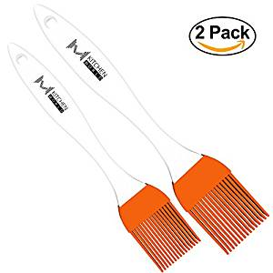 Orange Silicone Basting Oil Brush 2 Set