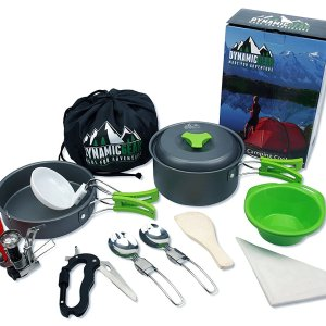 13 PC Camping Cookware Mess Kit with 5 in 1 Carabiner and Mini Stove
